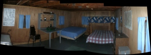 Panoramic view of sleeping area in caretaker's cabin